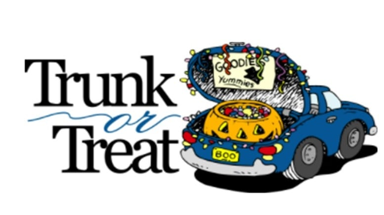 Trunk or Treat car with pumkin abd candy in Trunk