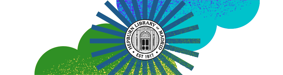 banner library logo with clouds